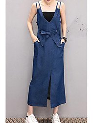 cheap -Women's Going out Cotton Denim Dress - Solid Colored V Neck / Spring / Summer