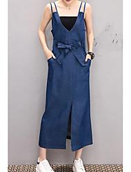 abordables -Femme Sortie Coton Toile de jean Robe Couleur Pleine Col en V Midi / Printemps / Eté