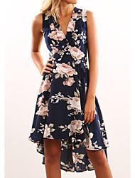 abordables -Femme Manche Gigot Coton Moulante Robe - Plissé, Couleur Pleine Mi-long / Printemps / Motifs floraux