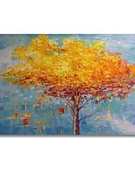 baratos -Pintura a Óleo Pintados à mão - Abstrato / Floral / Botânico Contemprâneo / Modern Incluir moldura interna / Lona esticada