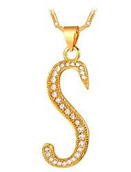 preiswerte -Herrn / Damen Kubikzirkonia Anhängerketten - Zirkon Alphabet Form, Eule Modisch Gold, Silber 55 cm Modische Halsketten Für Alltag