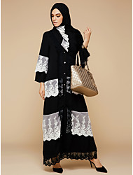 cheap -BENEVOGA Women's Sophisticated Boho Swing Jalabiya Abaya Dress - Solid Colored Color Block Lace Mesh