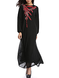 cheap -Women's Holiday Loose Tunic Dress - Solid Colored Embroidered Maxi Crew Neck Halter