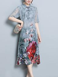 preiswerte -Damen Übergrössen Ausgehen Chinoiserie Seide Schlank A-Linie Hülle Kleid - Druck, Blumen Midi Ständer
