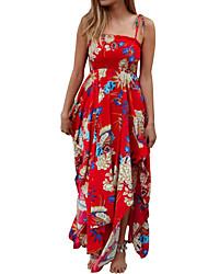 cheap -Women's Holiday Basic Slim Sheath Chiffon Dress - Floral Geometric Strap