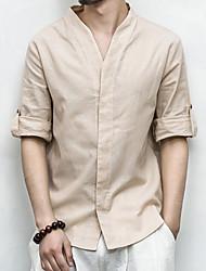 Недорогие -Муж. Рубашка Лён Классический Однотонный / Длинный рукав