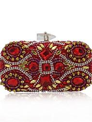 preiswerte -Damen Taschen Terylen Abendtasche Kristall Verzierung / Perlen Verzierung Rote