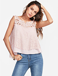 cheap -Women's Holiday Cute Active Tank Top - Solid Colored, Lace Sweetheart