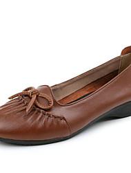 Недорогие -Жен. Обувь Кожа Весна / Осень Удобная обувь Мокасины и Свитер Туфли на танкетке Черный / Коричневый / Синий
