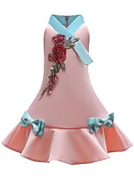 abordables -Robe Fille de Quotidien Sortie Couleur Pleine Imprimé Coton Polyester Printemps Eté Sans Manches Actif Chinoiserie Rouge Rose Claire