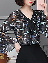 Недорогие -Жен. На выход Блуза V-образный вырез Уличный стиль Цветочный принт / Шёлк