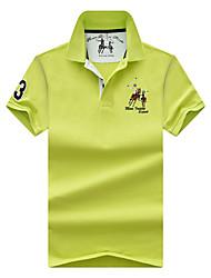 Недорогие -Муж. Спорт Вышивка Большие размеры - Polo Хлопок, Рубашечный воротник Классический / Уличный стиль Однотонный / С короткими рукавами