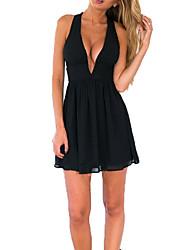 baratos -Mulheres Moda de Rua Algodão Delgado Vestidinho Preto / Rodado Vestido - Frente Única, Sólido Decote V Cintura Alta Acima do Joelho