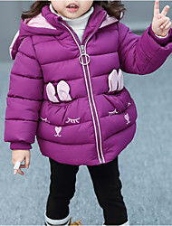 cheap -Girls' Daily Going out Color Block Embroidery 3D Cartoon Down & Cotton Padded, Polyester Long Sleeves Cute Casual Cartoon Blushing Pink