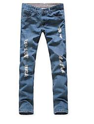 abordables -Mujer Tallas Grandes Algodón Vaqueros Pantalones - Un Color Plisado