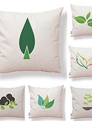 abordables -6 pcs Tissu Coton/Lin Taie d'oreiller Housse de coussin, arbres/Feuilles Formes Géométriques Moderne Géométrique Haute qualité