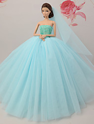 cheap -Dresses Dress For Barbie Doll Green Tulle Lace Silk / Cotton Blend Dress For Girl's Doll Toy