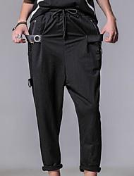 cheap -Men's Plus Size Cotton / Linen Harem Pants - Solid Colored Pleated