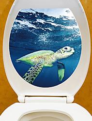 Недорогие -Наклейка на стену Наклейки для туалета - Простые наклейки Наклейки для животных Животные 3D Положение регулируется Съемная