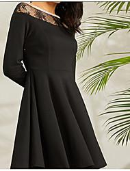 baratos -Mulheres Sofisticado Moda de Rua Evasê Vestido Sólido Acima do Joelho