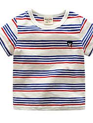preiswerte -Unisex Alltag Festtage Gestreift T-Shirt, Baumwolle Polyester Sommer Kurzarm Aktiv Blau Schwarz