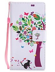 abordables -Coque Pour Sony Xperia XZ1 Compact Xperia XZ1 Porte Carte Portefeuille Avec Support Clapet Magnétique Coque Intégrale Chat Arbre Dur faux