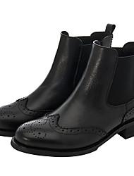 povoljno -Žene Cipele Svinjska koža Koža Proljeće Vojničke čizme Modne čizme Čizme Hodanje Biciklizam Ravna potpetica Okrugli Toe za Kauzalni