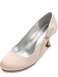 cheap -Women's Shoes Satin Spring Summer Comfort Wedding Shoes Kitten Heel Rhinestone Bowknot Satin Flower Sparkling Glitter for Wedding Party &