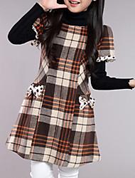 Недорогие -Девочки Платье Повседневные Шерсть В клетку Весна Осень С короткими рукавами Шахматка Бант Серый Красный