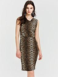 preiswerte -Damen Übergrössen Aktiv Hülle Kleid Leopard Knielang V-Ausschnitt