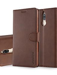 billiga -fodral Till Huawei Mate 10 lite Mate 10 pro Korthållare Plånbok med stativ Lucka Fodral Enfärgad Hårt PU läder för Mate 10 lite Mate 10