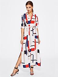 baratos -Mulheres Moda de Rua Reto Vestido Geométrica Longo