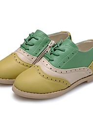 cheap -Girls' Shoes Leatherette Spring / Fall Comfort Oxfords Lace-up / Split Joint for Kid's / Child's Beige / Light Green