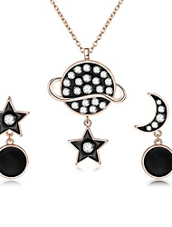 cheap -Women's Mismatched Jewelry Set - Zircon, Rose Gold Plated Moon, Star Fashion Include Drop Earrings / Pendant Necklace Black For Daily /