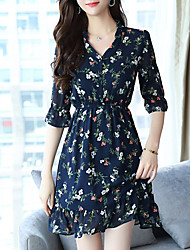 cheap -Women's Sophisticated Puff Sleeve A Line Dress - Floral Print
