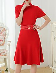 levne -Dámské Bavlna Vypasovaný A Line Šaty - Jednobarevné, Plisé Délka ke kolenům