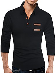 cheap -Men's Basic Long Sleeves Slim Pullover - Solid Colored Shirt Collar