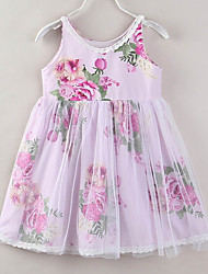 cheap -Girl's Daily Going out Floral Patchwork Dress, Cotton Rayon Polyester Summer Sleeveless Cute Active Blushing Pink