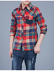 cheap -Boys' Daily Plaid Shirt, Cotton Polyester Spring Fall Long Sleeves Basic Green Red