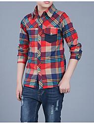 economico -Da ragazzo Quotidiano A quadri Camicia, Cotone Poliestere Primavera Autunno Manica lunga Essenziale Verde Rosso