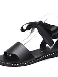 Недорогие -Жен. Обувь Лакированная кожа Весна Удобная обувь Туфли на шнуровке На плоской подошве для Повседневные Черный Вино