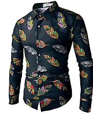 abordables -Tee-shirt Grandes Tailles Homme, Fleur Chinoiserie Col de Chemise / Manches Longues