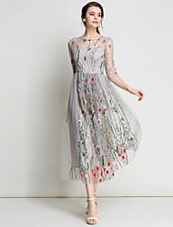 economico -Per donna sofisticato Moda città Linea A Swing Vestito - Con ricami, Fantasia floreale Maxi