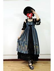 povoljno -Sweet Lolita Slatko Žene Haljine Cosplay Crn Crvena Plava Bez rukava Bez rukávů Do gležnja