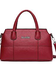 cheap -Women's Bags PU Leather Tote Zipper Gray / Purple / Brown