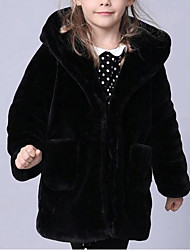 cheap -Girls' Solid Jacket & Coat, Faux Fur Special Fur Type Winter Long Sleeves Black