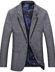 cheap -Men's Slim Blazer-Solid Colored Notch Lapel / Long Sleeve