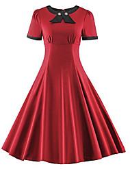 abordables -Mujer Tallas Grandes Vintage Algodón Delgado Corte Swing Vestido - Lazo, Un Color Midi Rojo