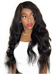 Недорогие -Не подвергавшиеся окрашиванию Полностью ленточные Парик Бразильские волосы / Естественные кудри Волнистый Парик Стрижка каскад 130% С детскими волосами / Природные волосы Черный Жен.