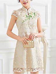 baratos -Mulheres Para Noite Algodão Delgado Bainha Vestido Sólido Floral Colarinho Chinês Médio